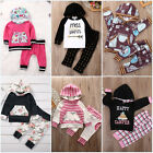 Newborn Toddler Kids Baby Boys Hooded Tops Long Pants 2Pcs Outfit Sets Clothes
