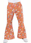 Gents 70's Flares - Orange Paisley  Flared Trousers