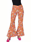 Ladies 70's Flares - Orange Paisley Design