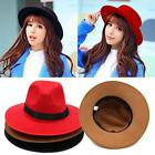 Vintage Women Wide Brim Wool Felt Bowler Summer Hat Lady Floppy Cloche Caps
