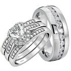 His and Hers Wedding Rings 4 pcs Engagement Sterling Silver Stainless Steel Set