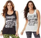 Zumba Fitness Peace, Love-N-Loose Tank Sew Black & White Size S, M, L or XL