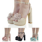 WOMENS HIGH HEEL ANKLE STRAP SANDALS LADIES PEEPTOE PLATFORM FRINGE PARTY SHOES