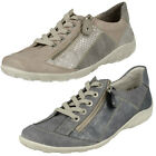 Ladies Remonte R3419 Grey Leather Casual Lace Up Shoes