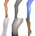 SILVER LUREX GLITTER CHEVRON STRIPE TIGHTS SPARKLY PARTY ALL COLOURS ONE SIZE