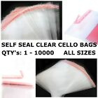 Clear Cello Bags Cellophane Self Seal Large Small For Sweet Card Craft Party OPP
