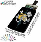 Hot Rod Pin Stripe Muscle Piston Car - Universal Leather Phone Pouch Case Cover