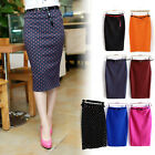 WOMENS PLAIN OFFICE WORK PENCIL LADIES STRETCH BELTED BODYCON MINI MIDI SKIRT