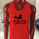 DREAM BIG UNICORN MYTHICAL CREATURE FANTASY MAGIC Mens Red Tank Top