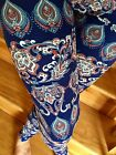 SOFT Navy Blue Brushed Paisley Floral Leggings S M L ONE size PLUS 1X 2X GREAT
