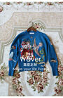 Italy Women's Crystal Embroidered Blue Crewneck Slim Soft Sweater Jumper S-XL