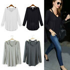 GT Women V-neck Plus Size Tops Loose Long Sleeve T-Shirt Casual Blouse Fashion