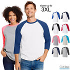 Hanes Raglan X-Temp 3/4 Sleeve Baseball Tee Jersey Soft Light T-Shirt 42BA NEW image