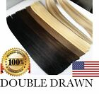 "DOUBLE DRAWN US STOCK 16"" 18"" 20"" 22"" 24""  Tape In PU Human Hair Extensions"