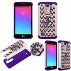 Crystal Bling 3D Case for LG K7-Treasure-Tribute 5 Shockproof Soft TPU+PC Cover
