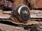 NEW Unique Gift Sterling Silver Handmade Ottoman Sign Mens Rings Onyx All Sizes