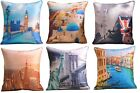 Luxury Digital Faux Silk Satin Printed Cushion Covers With Detail Scenery Image