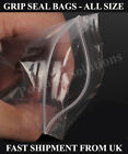 Gripseal bags Resealable Clear plastic Food Safe Sizes in Inches 24hr Despatch