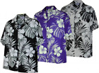 Hibiscus Palm and Taro Leaves Hawaiian Aloha Shirt Made in Hawaii 410-3589 $31.95 USD