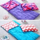 Girls Sleeping Bag and Pillow Cover, Indoor Outdoor Camping Youth Blue or Purple