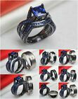 Ladies Sapphire Black 925 Silver Mens Titanium Wedding & Engagement Ring Set