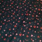 Red Heart Quilt Fabric Valentines Day Black Background P&B Textiles 100% Cotton