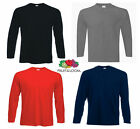 SET OF 3 PACKS x MENS LADIES UNISEX FRUIT OF THE LOOM LONG SLEEVE COTTON TSHIRTS