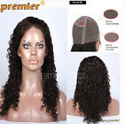 New Curly Full Lace Wig Brazilian Remy Human Hair Off Black Natural Hairline