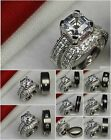 His Hers Engagement & Wedding Ring Set His Titanium Hers 925 Silver Asscher Cut