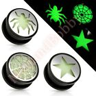 Glow In The Dark Hollow Screw Fit Ear Stretcher Plug CHOOSE SINGLE OR PAIR