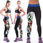 Womens YOGA Workout Gym Print Sports Pants Leggings Fitness Stretch Trouser KSE