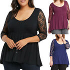 USA Womens Plus Size Casual Loose Long Sleeve Lace T-Shirt Tops Blouse Fashion
