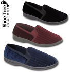 Mens Stripe Cord Slip On Comfort Fit  Twin Gusset Bedroom House Slippers Shoes