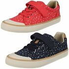 CLARKS Comic Max Jnr Girls Canvas Summer Shoes