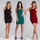 LADIES WOMENS PARTY DRESS LACE FRONT BODYCON FLORAL PRINT SLEEVELESS GLAMOROUS