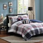 NEW Boys Teen Red White Blue COZY PLAID Comforter Bedding SET TWIN FULL QUEEN