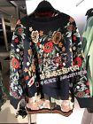 Spain Women's Oversized Crew Neck Floral Embroidered Navy Sweater Jumper S-L