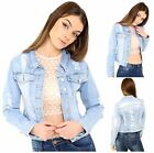 New Womens Short Cropped Distressed Look Long Sleeve Stretch Denim Jacket Top
