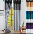 FAUX SILK PANEL VIENNA RING TOP FULLY LINED EYELET CURTAINS WITH TIEBACKS