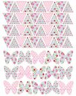 "40 x 1"" BUNTING FLAGS 15 x BUTTERFLY CK FLORAL EDIBLE PRECUT ICING CAKE TOPPERS"