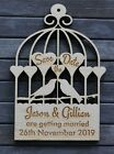 Wooden LOVEBIRDS in BIRDCAGE Engraved SAVE THE DATE Magnets PERSONALISED WEDDING