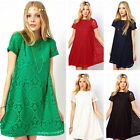 Summer Women's Round Neck Lace Hollow out Short Sleeve Dress Fashion New