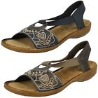 Ladies Rieker 608B9 Synthetic Slip On Smart Casual Sandals