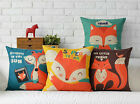 """Cotton/Linen Cushion Cover Shell Throw Pillow Case colorful lovely fox 1 pc 18"""""""