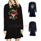 Women Long Sleeve Embroider Flower Black Cocktail Party Swing TailPullover Dress
