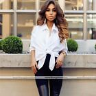 Women Cold-Shoulder Solid White T-Shirt Long Sleeve Tie Knot Blouse Tee Top
