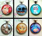 DISNEY PENDANT NECKLACE GLASS PRINCESSES MARIE ARIEL DUMBO TRAMP BELLE ROUND
