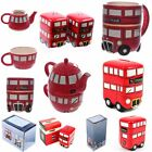 RED BUS DOUBLE DECKER LONDON GIFT IDEAS - Salt & Pepper Teapot Set Money Box Mug