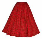 Vintage Retro 40's 50's Full Circle Red Polka Dot Rockabilly Jive Swing Skirt