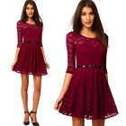 Womens 3/4 Sleeve Crewneck Sweetheart Mini Lace Belt Cocktail Party Skater Dress